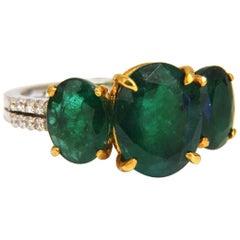 6.11 Carat Natural Oval Emeralds Diamond Ring 14 Karat Classic Three Deco