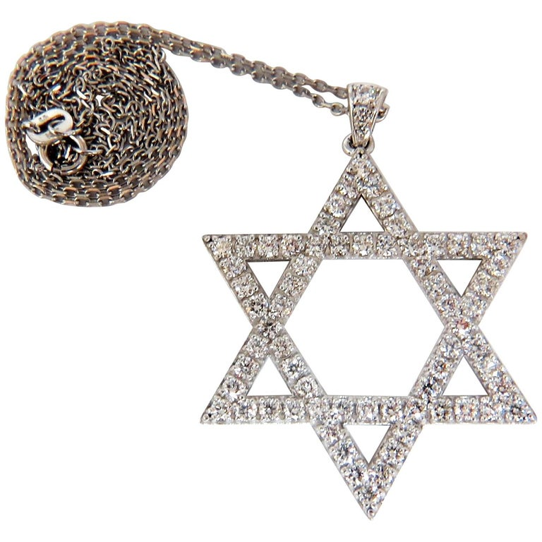 1.85 Carat Round Natural Diamonds Star Pendant 14 Karat and Chain