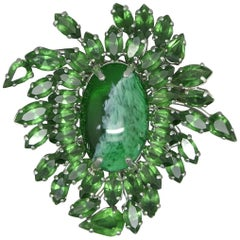 Christian Dior 1961 Green Crystal Large Stone Couture Brooch