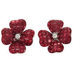 18 Karat Gold 0.20 Carat Diamonds and Invisible 14.13 Carat Ruby Flower Earrings