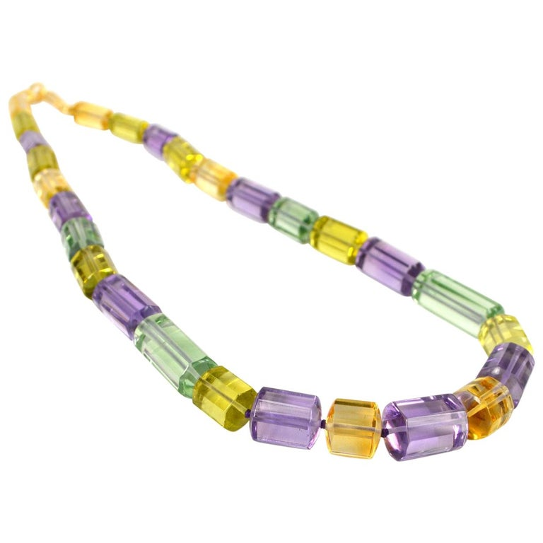 Decadent Jewels Amethyst Citrine Lemon Quartz Gold Necklace