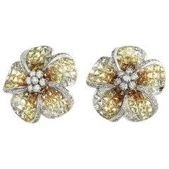 18k White Gold 0.38 Ct Diamonds & 14.13 Ct Yellow Sapphire Flower Earrings