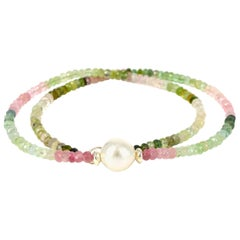 Decadent Jewels Tourmaline South Sea Pearl Silver Necklace