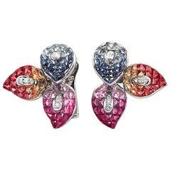 18 Karat Gold 0.20 Carat Diamonds and 17.40 Carat Multi Sapphire Flower Earrings
