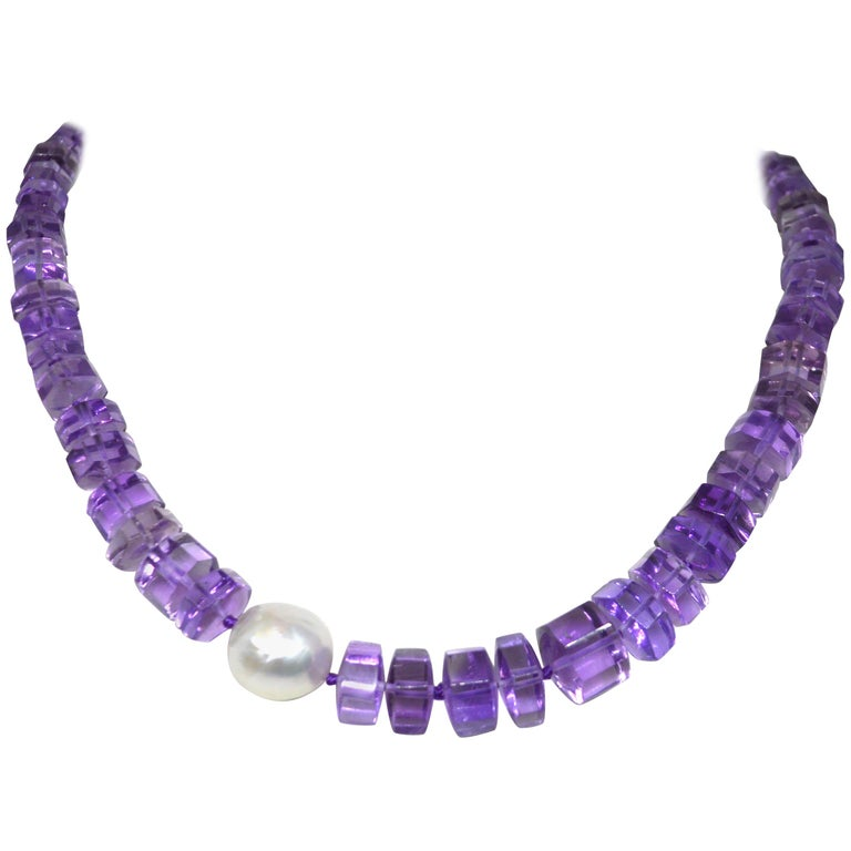 Amethyst South Sea Pearl Gold Necklace