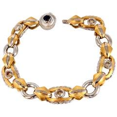 1.40 Carat Natural Fancy Color Brownish Yellow Diamonds Hinge Bracelet 14 Karat