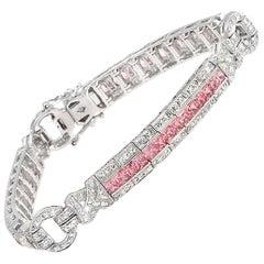 7.75 Carat Natural Pink Sapphire and 1.40 Carat Diamonds 18 Karat Gold Bracelet