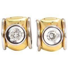 .80 Carat Natural Round Brilliant Diamond Huggie Earrings 18 Karat G/Si1 Petite