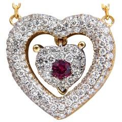 .75 Carat Natural Ruby Diamonds Dangle Heart Necklace 18 Karat