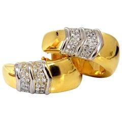 1.00 Carat Large Size Classic Diamond Semi Hoop Earrings 18 Karat