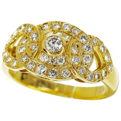 Garrard Diamond 18 Karat Yellow Gold One One Two Ring
