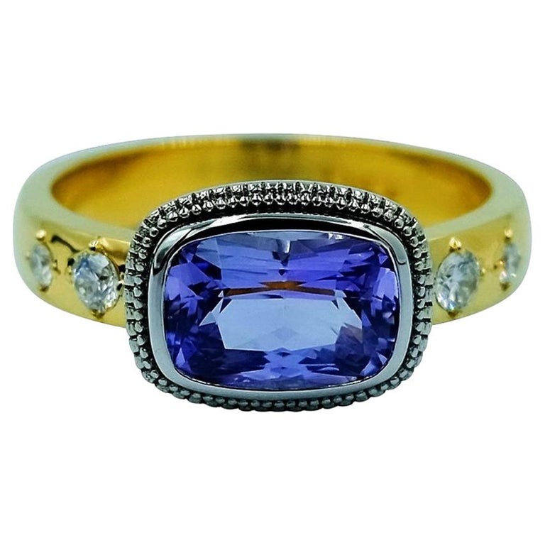 Luca Jouel Violet Sapphire and Diamond Dress Ring in Platinum and Yellow Gold