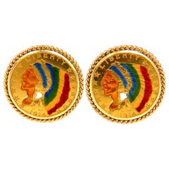 1914 'Two' BLP US Liberty Gold Coin Cufflinks Enamel Detail Rope Twist