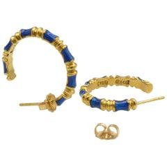 Tiffany Enamel Hoop Earrings in 18 Karat Gold