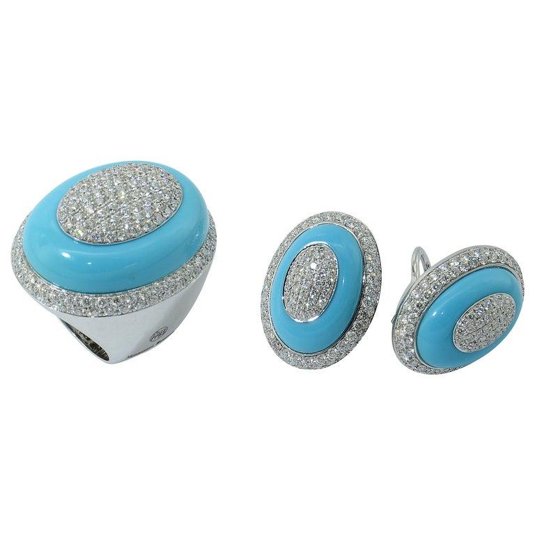 Demi-Parure Margherita Burgener 18KT Gold Diamond Turquoise  Cocktail Ring