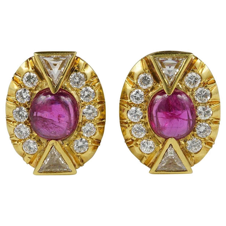 Art Deco 5 0 Carat No Heat Ruby 3 90 Carat Diamond Earrings For Sale