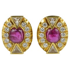 Art Deco 5.0 Carat No Heat Ruby 3.90 Carat Diamond Earrings