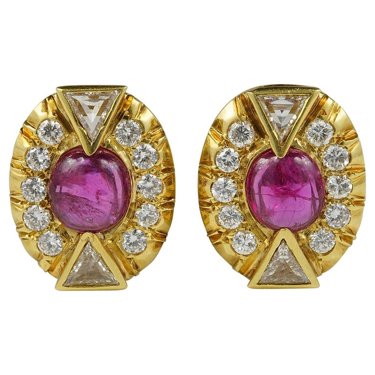 Art Deco 5.0 Carat No Heat Ruby 3.90 Carat Diamond Earrings For Sale