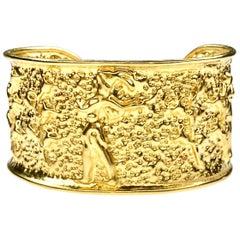 22 Karat Yellow Gold The Prince of Knossos Cuff Bangle Bracelet