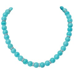 18K Gold Turquoise and Diamond Necklace