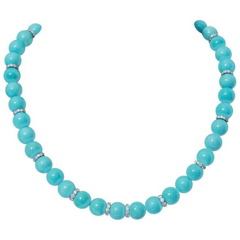 18K Gold Turquoise and Diamond Necklace For Sale