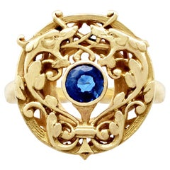 1930s Antique French Sapphire and Yellow Gold Cocktail Ring
