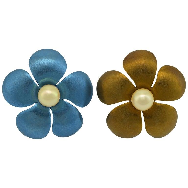 Margherita Burgener Titanium Pearls 18Kt Gold Clip  Earrings Made in Italy