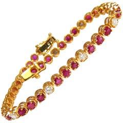 5.59 Carat Vivid Red Natural Ruby Diamonds Alternating Tennis Bracelet 14 Karat