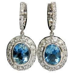 4.55 Carat Natural Aquamarine Diamond Earrings Dangle A+ VS/G