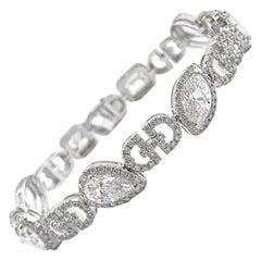 GIA Certified Mixed Cut Diamond Bracelet, 11.41 Carat