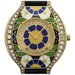 Corum Ladies yellow Gold Diamond Enamel Blue Floral Motif quartz Wristwatch