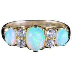 Antique Victorian Opal Diamond Ring 18 Carat Gold, circa 1880