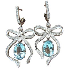 5.95ct natural aquamarine diamonds dangle earrings 14kt ribbon bowtie deco