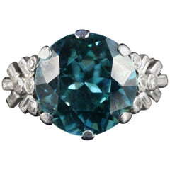 Antique Edwardian Blue Zircon Diamond Ring Platinum 8 Carat Zircon, circa 1915