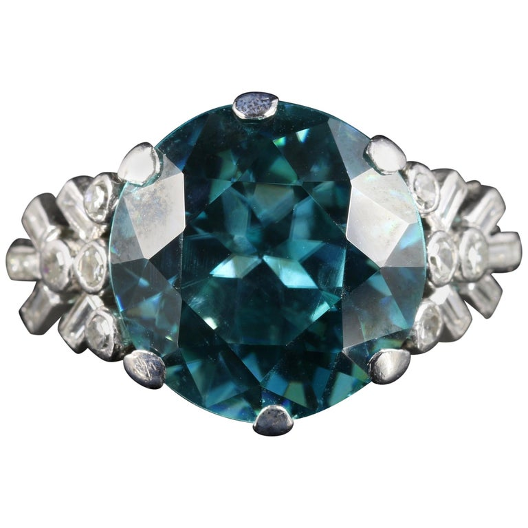 Antique Edwardian Blue Zircon Diamond Ring Platinum 8 Carat Zircon, circa 1915