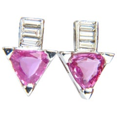1.90 Carat Natural Vivid Pink Trilliant Sapphire Diamonds Stud Earrings 14 Karat