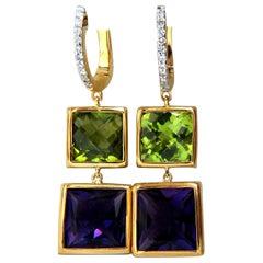 13.05 Carat Natural Amethyst Peridot Diamond Dangle Earrings 14 Karat