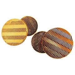 14 Karat 3D Circular Double Textured Gold Cufflinks