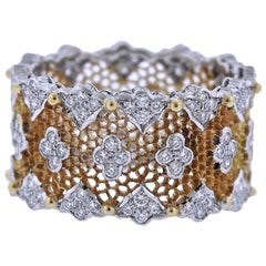 Buccellati Tulle Parigi Diamond Gold Wedding Band Ring