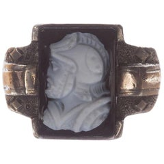 Victorian Sterling Silver 10 Karat Carved Agate Cameo Perseus Ring