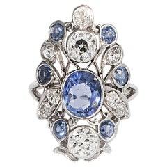 Old-Cut Sapphire and Diamond Ring Set in Platinum and Gold