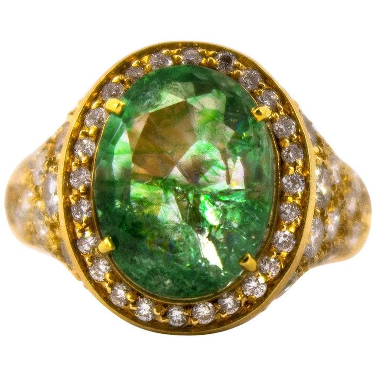 2.05 Carat White Diamond 4.45 Carat Emerald Yellow Gold Cocktail Ring