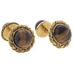 Tiffany & Co. French Midcentury Tiger's Eye Gold Cufflinks