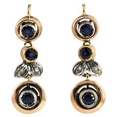 1.00 Carat Blue Sapphire White Diamond Yellow Gold Lever-Back Earrings