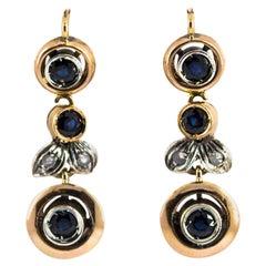 1.00 Carat Blue Sapphire White Diamond Yellow Gold Lever-Back Earrings