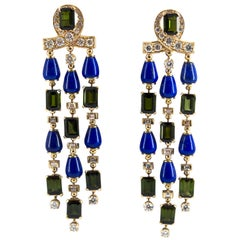 15.60 Carat Tourmaline Lapis 2.90 Carat White Diamond Yellow Gold Drop Earrings