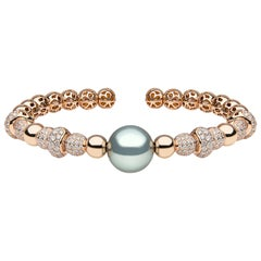 Yoko London Tahitian Pearl and Diamond Bangle Set in 18 Karat Rose Gold