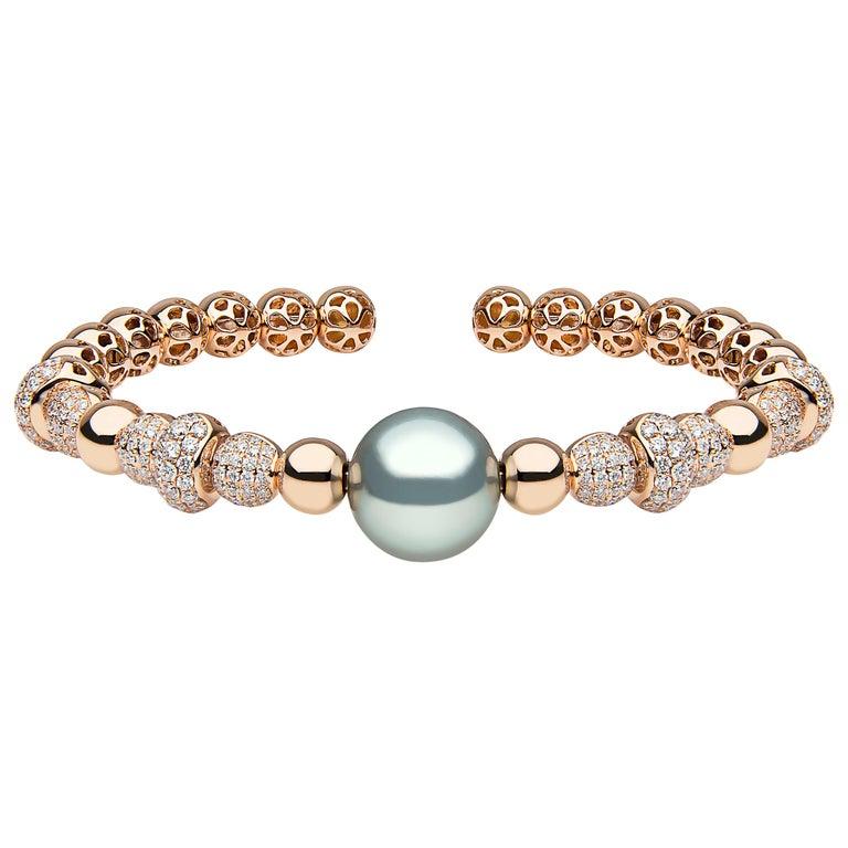 Yoko London Tahitian Pearl and Diamond Bangle Set in 18 Karat Rose Gold