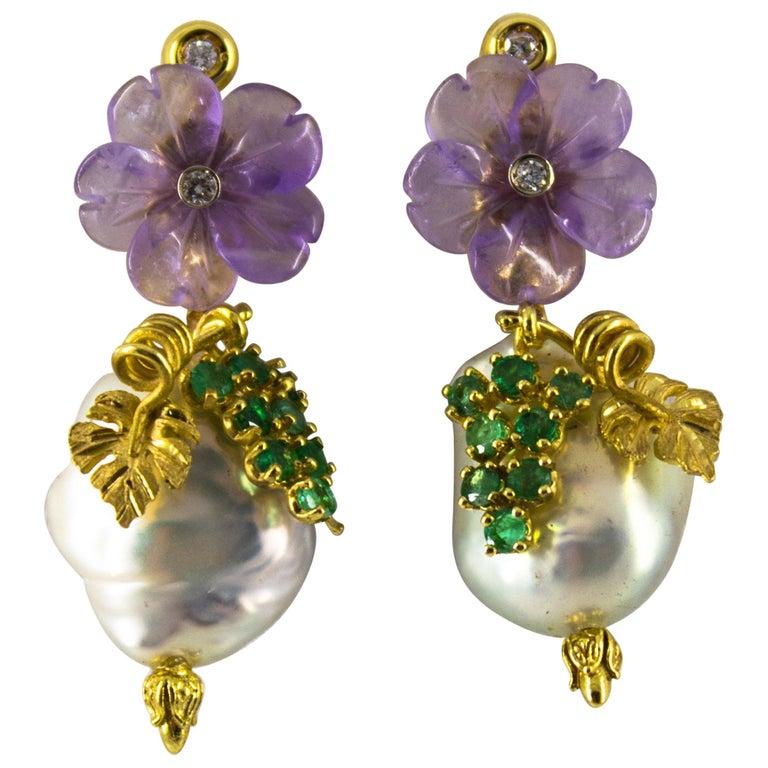 0.90 Carat Emerald Amethyst Pearl 0.12 Carat White Diamond Yellow Gold Earrings