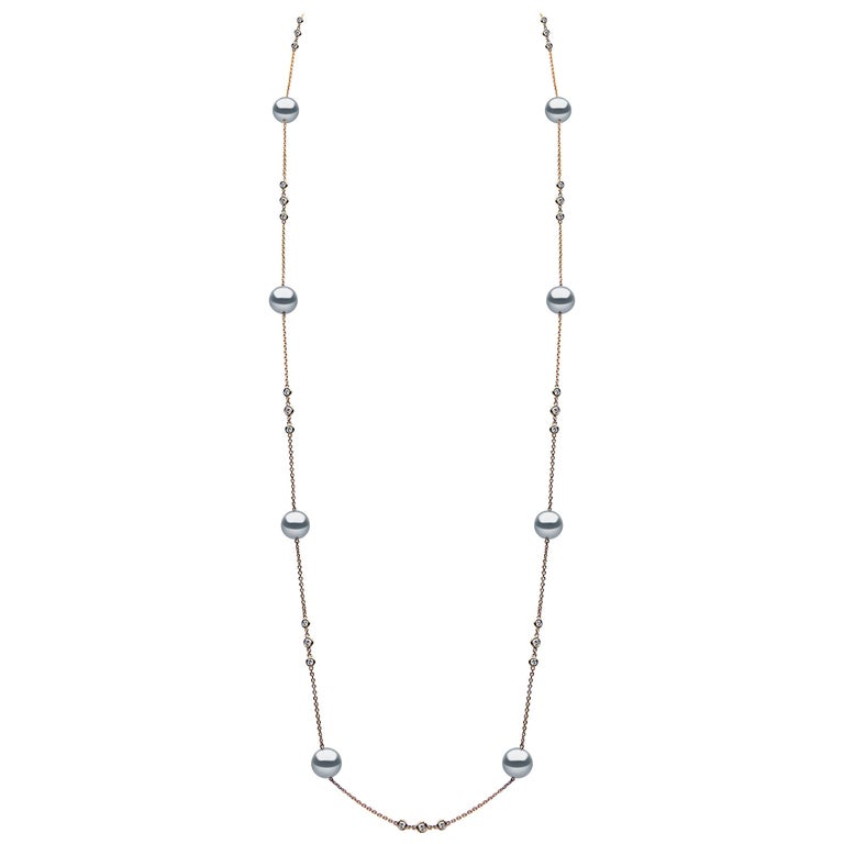 Yoko London Tahitian Pearl and Diamond Necklace Set in 18 Karat Rose Gold
